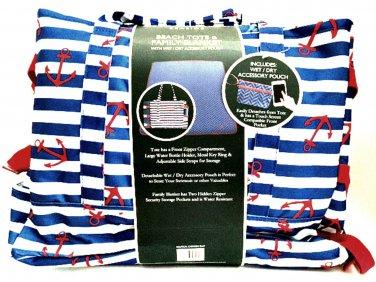 Laura Ashley Seaside Beach Tote & Family Blanket Nautical Chevron Blue Print