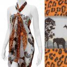 Scarf Safari Sarong Pareo Cover-Up Two Way Wrap Cruise Wear