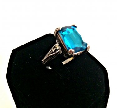 Sterling Silver 925 Ring Deep Blue Topaz Gemstone Size 10 Fashion Jewelry