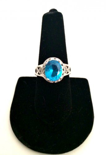 Sterling Silver 925 Ring Blue Topaz Gemstone Size 9 Fashion Jewelry