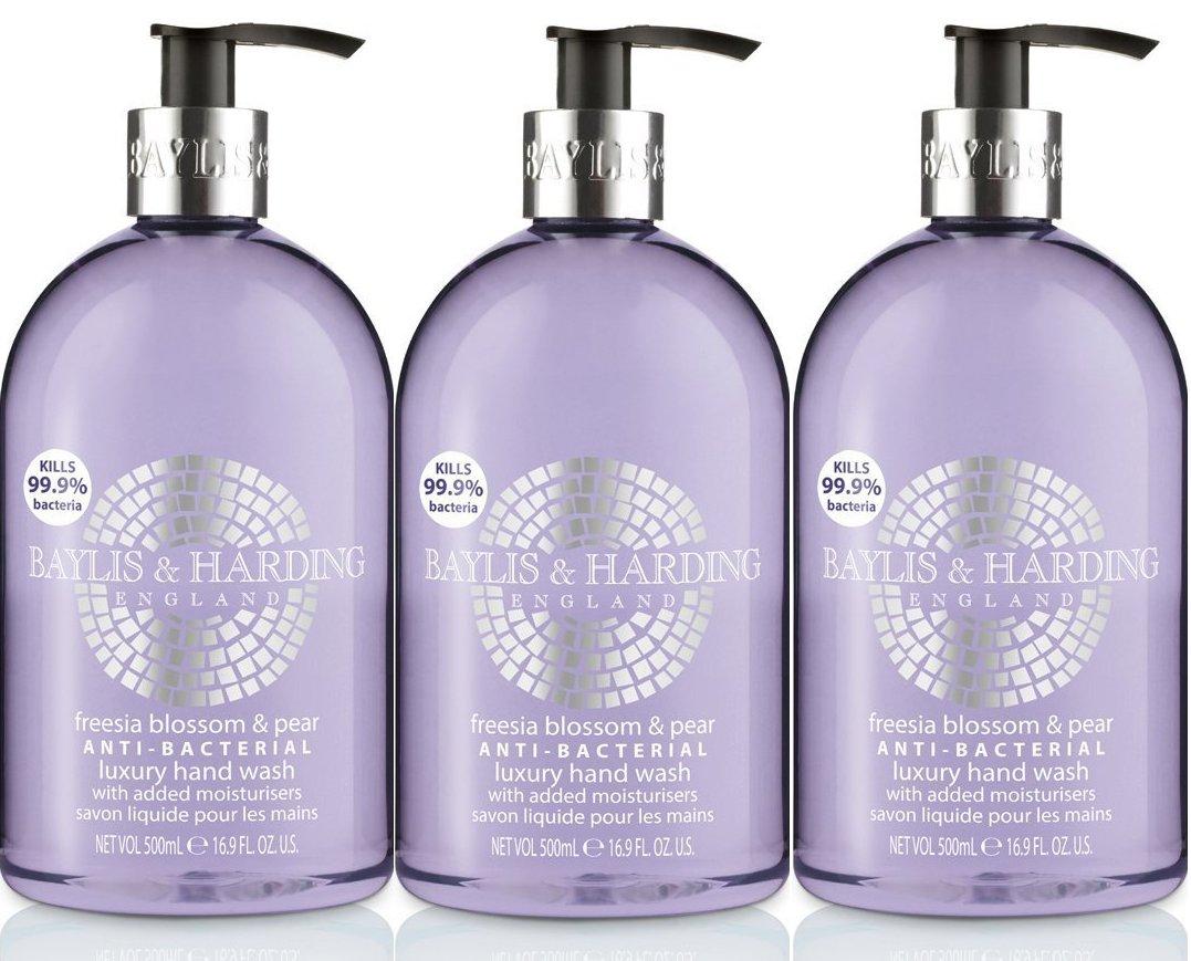 X 3 Baylis & Harding Freesia Blossom & Pear Anti-Bacterial Luxury Hand-wash 500 ml