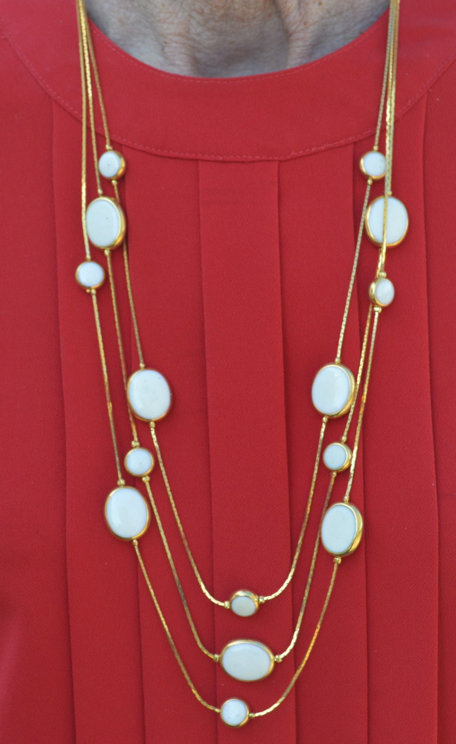 Avon Tri Necklace with White Stones - Eclectic #0046