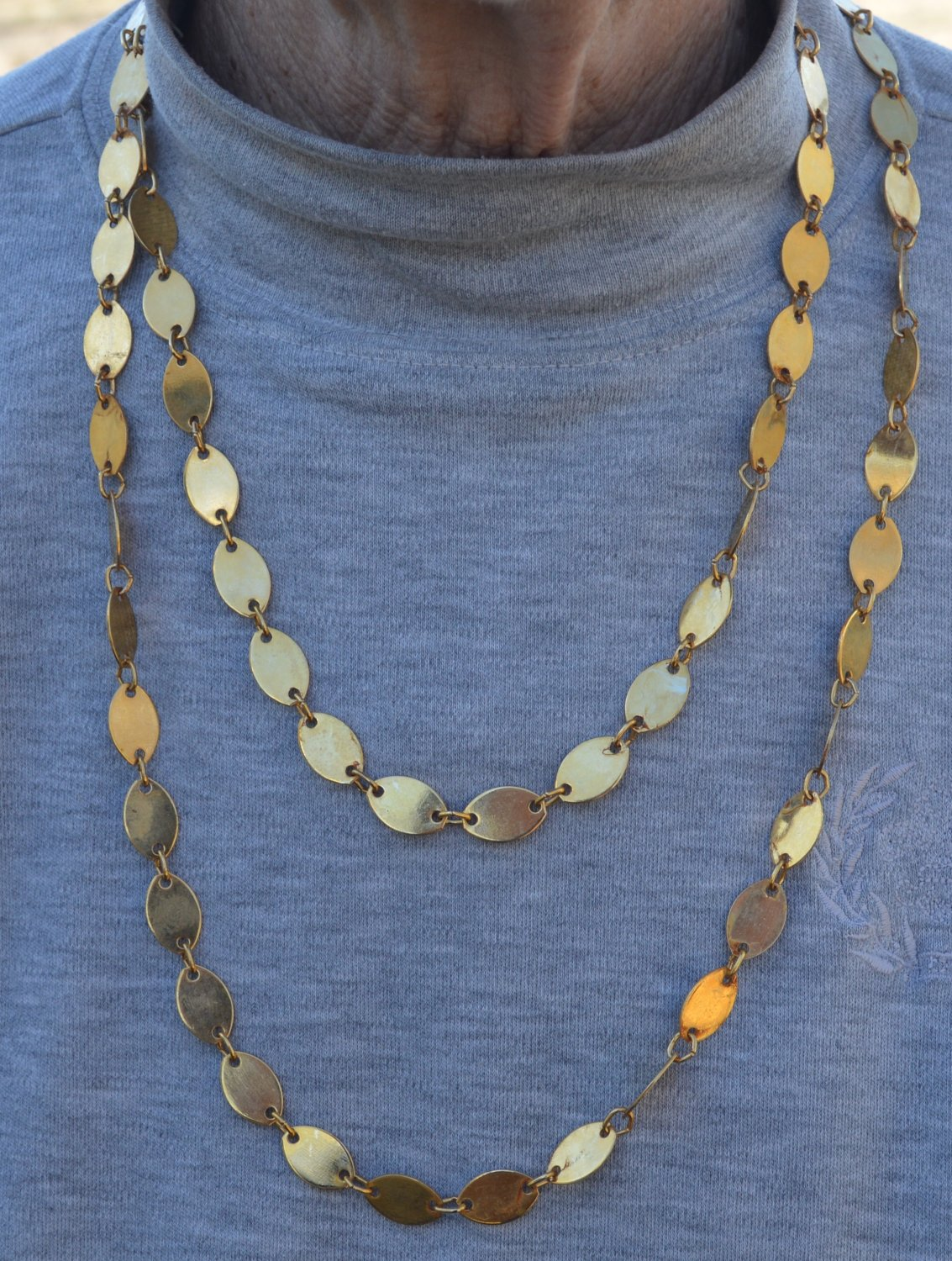 Long Gold Colored Metal Necklace - Eclectic #0047