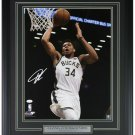 Giannis Greek Freak Antetokounmpo Signed Framed Bucks 16x20 Mid-Dunk Photo JSA
