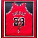 Michael Jordan Signed Framed 33x42 Hand Painted Bulls Basketball Jersey UDA