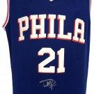 Joel Embiid Signed Twice Philadelphia 76ers Blue Nike Replica Jersey Fanatics