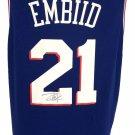 Joel Embiid Signed Twice 76ers Blue Nike Replica LG Jersey Fanatics