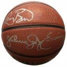 Larry Bird Julius Dr J Erving Signed Spalding Replica NBA Basketball JSA+Bird