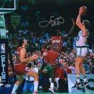 Larry Bird Celtics Signed 16x20 vs Michael Jordan Photo BAS