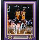 Magic Johnson Kareem Abdul-Jabbar Signed Framed 16x20 LA Lakers Photo BAS