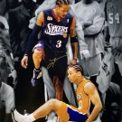 Allen Iverson Signed 16x20 76ers NBA Finals Step Over Lue Spotlight Photo JSA