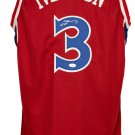 Allen Iverson Signed Custom Red Rookie Pro-Style Basketball Jersey JSA ITP