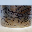 Juneau Alaska Map Cuff Bracelet. Vintage print cuff for her or him.