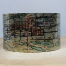 Cody Wyoming Map Cuff Bracelet. Vintage print cuff for her or him.