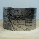 Southern Italy Map Cuff Bracelet. Vintage print cuff for her or him.