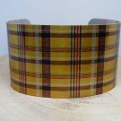 Bumblebee Tartan Plaid Cuff Bracelet. Print cuff for her or him.