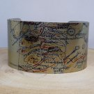 Faxa Fjord Iceland Map Cuff Bracelet. Vintage print cuff for her or him.
