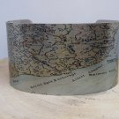 Kvichak River Alaska Map Cuff Bracelet. Vintage print cuff for her or him.