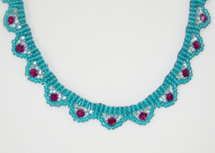 Swarovski Crystal Scallop Necklace Teal and Pink