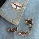 Cute 4pcs/set Whale pins Animal pins Hard enamel pins Badges Brooches