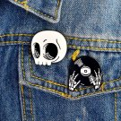 Cute 2pcs/set Skull head and hands black white enamel pins Punk pins