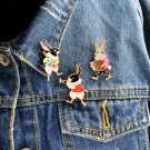 Cute 3pcs/set Hard enamel pin set Musician rabbit pin Vintage rabbit brooch Bunny pins