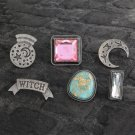 Cute 6pcs/set Witch crystal ball moon Enamel pin Lapel pin Buttons Badges