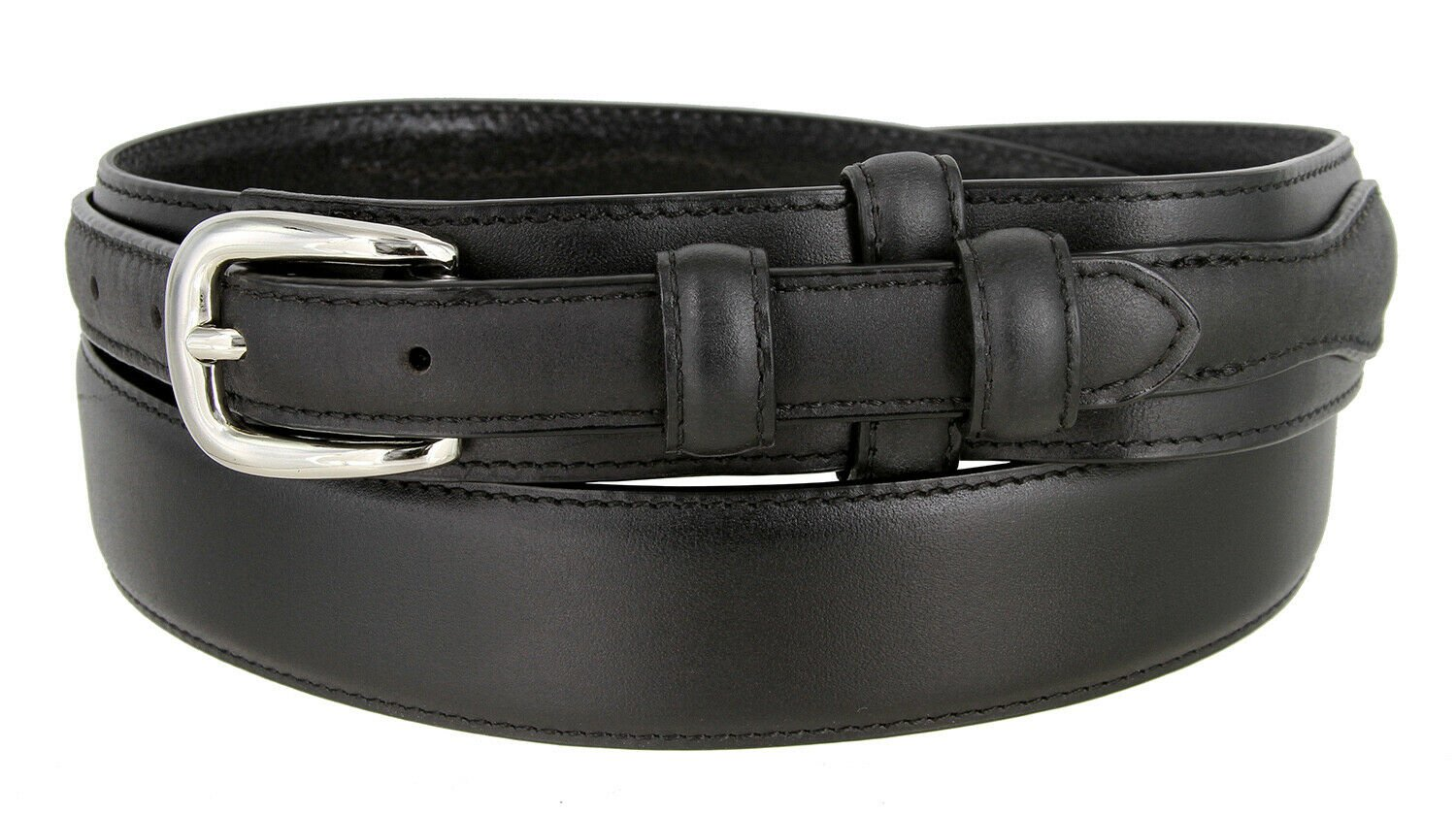 "Men's Belt Oil-Tanned Genuine Leather Ranger Belt 1-3/8"" Wide Size 50 Black"