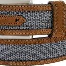 """Lejon Back Nine Suede Edged Webbed Cotton Dress Belt 1-3/8"""" wide - Blue 36"""