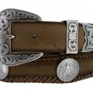 """Mens Texas Centennial Eagle Coin Concho Leather Cowboy Belt, 1-1/2"""" Wide Size 56 Brown"""