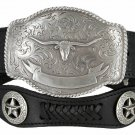 State of TEXAS LONGHORN WESTERN Style GENUINE LEATHER COWBOY CONCHO BELT Size 34 Black