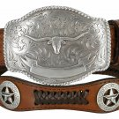 State of TEXAS LONGHORN WESTERN Style GENUINE LEATHER COWBOY CONCHO BELT Size 34 Brown