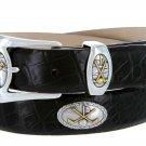 Bayside - Genuine Leather Italian Calfskin Designer Dress belt with Golf Conchos Size 32 Alligator B