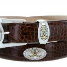 Bayside - Genuine Leather Italian Calfskin Designer Dress belt with Golf Conchos Size 48 Alligator B
