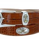 Bayside - Genuine Leather Italian Calfskin Designer Dress belt with Golf Conchos Size 38 Alligator T