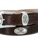 Bayside - Genuine Leather Italian Calfskin Designer Dress belt with Golf Conchos Size 38 Lizard Brow