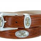 Bayside - Genuine Leather Italian Calfskin Designer Dress belt with Golf Conchos Size 42 Lizard Tan