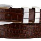 "Vince Italian Calfskin Leather Designer Dress Belt 1-1/8"" Tapers to 1"" Wide Size 36 Alligator Brown"