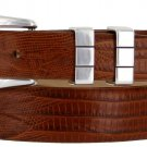 "Vince Italian Calfskin Leather Designer Dress Belt 1-1/8"" Tapers to 1"" Wide Size 50 Lizard Tan"