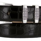 "Jakarta - Italian Calfskin Genuine Leather Designer Dress Belt, 1-1/8"" Wide Size 44 Alligator Black"