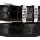 "Jakarta - Italian Calfskin Genuine Leather Designer Dress Belt, 1-1/8"" Wide Size 54 Alligator Black"