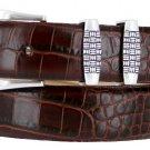 "Jakarta - Italian Calfskin Genuine Leather Designer Dress Belt, 1-1/8"" Wide Size 46 Alligator Brown"