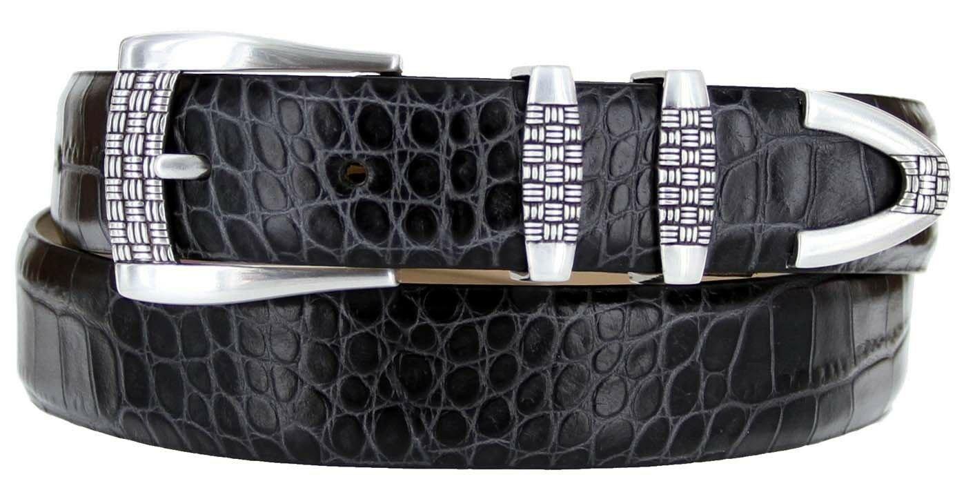 "Jakarta - Italian Calfskin Genuine Leather Designer Dress Belt, 1-1/8"" Wide Size 32 Alligator Charco"