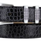 "Jakarta - Italian Calfskin Genuine Leather Designer Dress Belt, 1-1/8"" Wide Size 36 Alligator Charco"