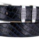 "Jakarta - Italian Calfskin Genuine Leather Designer Dress Belt, 1-1/8"" Wide Size 42 Alligator Navy"