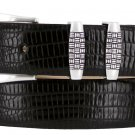 "Jakarta - Italian Calfskin Genuine Leather Designer Dress Belt, 1-1/8"" Wide Size 32 Lizard Black"