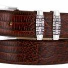 "Jakarta - Italian Calfskin Genuine Leather Designer Dress Belt, 1-1/8"" Wide Size 34 Lizard Brown"