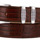 "Jakarta - Italian Calfskin Genuine Leather Designer Dress Belt, 1-1/8"" Wide Size 40 Lizard Brown"