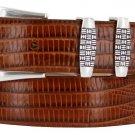 "Jakarta - Italian Calfskin Genuine Leather Designer Dress Belt, 1-1/8"" Wide Size 42 Lizard Tan"