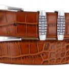 "Jakarta - Italian Calfskin Genuine Leather Designer Dress Belt, 1-1/8"" Wide Size 40 Alligator Tan"